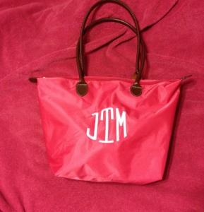 pink monogrammed tote