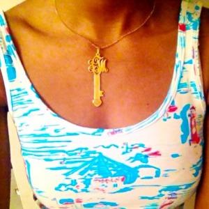 monogram key necklace