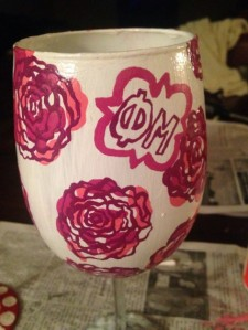 Phi Mu painted wine glass from SimplyFabs